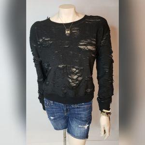 Wantable Black Distressed Sweater SZ L